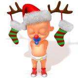 Младенец Jake с иллюстрацией Antlers 3d северного оленя рождества Стоковые Фотографии RF