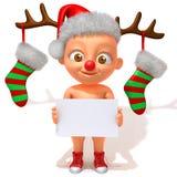 Младенец Jake с иллюстрацией Antlers 3d северного оленя рождества Стоковые Фото