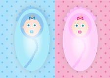 Младенцы мальчика и девушки Стоковые Фотографии RF