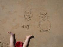 Младенческие чертежи на песке Стоковые Фото