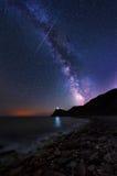 Млечный путь над накидкой Emine, Болгарией стоковые фотографии rf