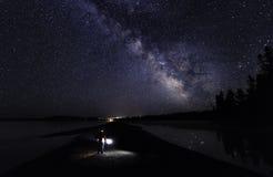 Млечный путь над национальным парком Йеллоустона стоковая фотография rf