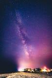 Млечный путь над пляжем Bethany, Делавером Стоковое Изображение RF