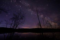 Млечный путь с большими звездами мерцания Стоковые Фото