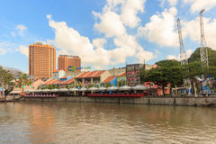 Набережная Кларка на голубом небе, Сингапуре, Юго-Восточной Азии стоковые фото