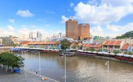 Набережная Кларка на голубом небе, Сингапуре, Юго-Восточной Азии стоковые фотографии rf