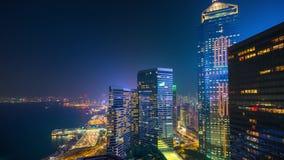 Набережная ночи Гонконга воздушная всхода острова изумительного видеоматериал