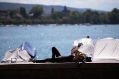 Набережная озера Цюрих, Швейцарии Стоковые Изображения RF