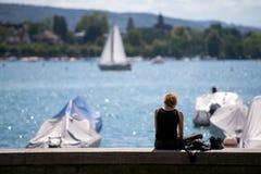 Набережная озера Цюрих, Швейцарии Стоковые Фотографии RF