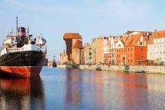 Набережная Motlawa и старый Гданьск Стоковое Изображение
