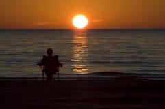 наблюдать захода солнца Стоковое Фото