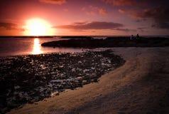 наблюдать захода солнца стоковая фотография