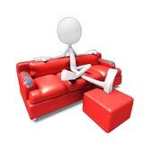 наблюдать tv софы характера 3d Стоковое Изображение