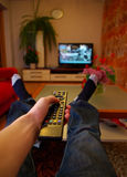 наблюдать tv Стоковая Фотография