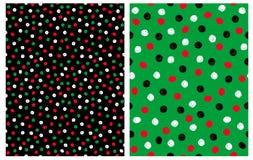Набор 2 абстрактных безшовных картин вектора с Irrgegular нарисованным рукой ставит точки на черной и зеленой предпосылке иллюстрация штока