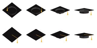 Набор академичных чашек с tassels в иллюстрации различного вектора углов плоской иллюстрация штока