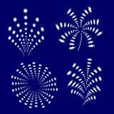 Набор белых праздничных фейерверков иллюстрация штока