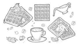 Набор бельгийских вафлей иллюстрация штока