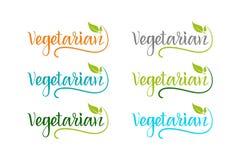 Набор био eco красочный для компании, производящ вегетарианские продукты иллюстрация штока