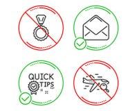 Набор быстрые подсказки, значки почты и медали Знак полета поиска Полезные фокусы, электронная почта, победитель Перемещение нахо иллюстрация вектора