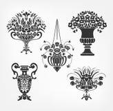Набор вазы цветка элементов дизайна вектора викторианский барочный иллюстрация штока