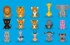 Набор вектора дизайна мультфильма дикого животного иллюстрация вектора