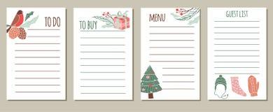 Набор вектора для того чтобы сделать списки на Новый Год иллюстрация штока