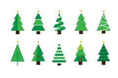 Набор вектора рождественской елки мультфильма зимы красочный иллюстрация вектора