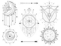 Набор вектора священных геометрических и естественных символов на белой предпосылке Абстрактный мистик подписывает собрание Черны иллюстрация вектора