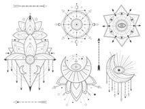 Набор вектора священных геометрических и естественных символов на белой предпосылке Абстрактный мистик подписывает собрание Черны бесплатная иллюстрация