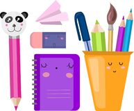 Набор вектора, собрание, иллюстрация со школьными принадлежностями E иллюстрация штока