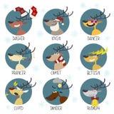 Набор вектора стикера северных оленей Санта иллюстрация вектора