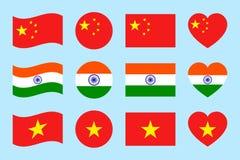 Набор вектора флагов Китая, Индии, Вьетнама Значки изолированные квартирой Китаец, индийское, въетнамское собрание национальных с иллюстрация штока
