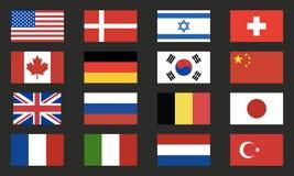 Набор вектора флагов мира Значки флагов мира изолированные на черной предпосылке элементы конструкции предпосылки 4 снежинки бело иллюстрация штока