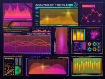Набор визуализирования данных Интерфейс цвета HUD Современный infographic шаблон Диаграмма с диаграммами статистики футуристическ иллюстрация штока