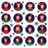 Набор воплощения значка людей зимы иллюстрация штока