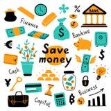Набор денег, символы дела и финансовые элементы Иллюстрация вектора смешной руки doodle вычерченная Милое собрание банка мультфил иллюстрация штока