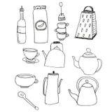 Набор деталей для кухни Утвари кухни на изолированной белой предпосылке r Нарисованный черным вкладышем мимо стоковое фото