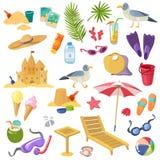 Набор деталей пляжа лета бесплатная иллюстрация