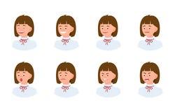 Набор дизайна женщины офиса эмоционального персонажа из мультфильма взгляда стороны 3/4 молодой иллюстрация штока