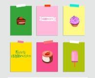 Набор дня дня рождения - знак, иллюстрации и карты вектор иллюстрация штока
