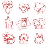 Набор дня Святого Валентина вектора милого мультфильма красный бесплатная иллюстрация