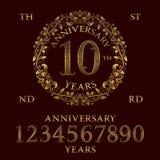 Набор знака годовщины Золотые номера, рамка и некоторые слова Стоковое Изображение