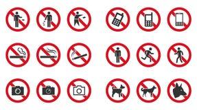 Набор знака запрета - отсутствие телефона, отсутствие засаривать, отсутствие входа etc иллюстрация штока