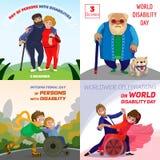 Набор знамени инвалидности людей дня, стиль мультфильма иллюстрация штока