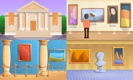Набор знамени музея, стиль мультфильма иллюстрация вектора