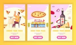 Набор знамени пиццы вертикальный иллюстрация штока