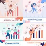 Набор знамени успеха в бизнесе предприниматели счастливые иллюстрация вектора