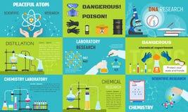 Набор знамени химии, плоский стиль бесплатная иллюстрация