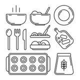 Набор значка ¡ Ð ooking r Плита с горячим блюдом, пустая плита, столовый прибор, вилка, плита, нож, мука, выпечка, доска кухни бесплатная иллюстрация
